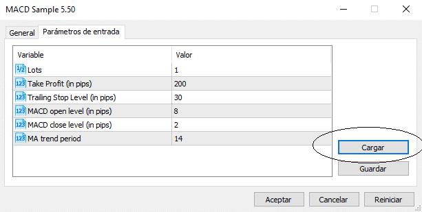 Cargar set de parámetros